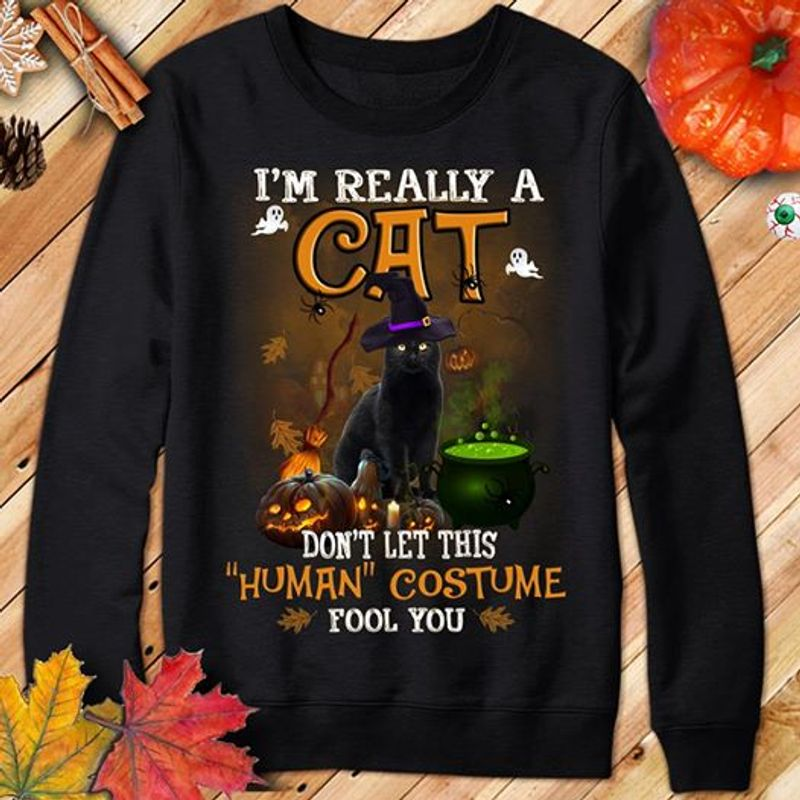 Im Really Cat Dont Let This Human Costume Fool You T-Shirt Black A8