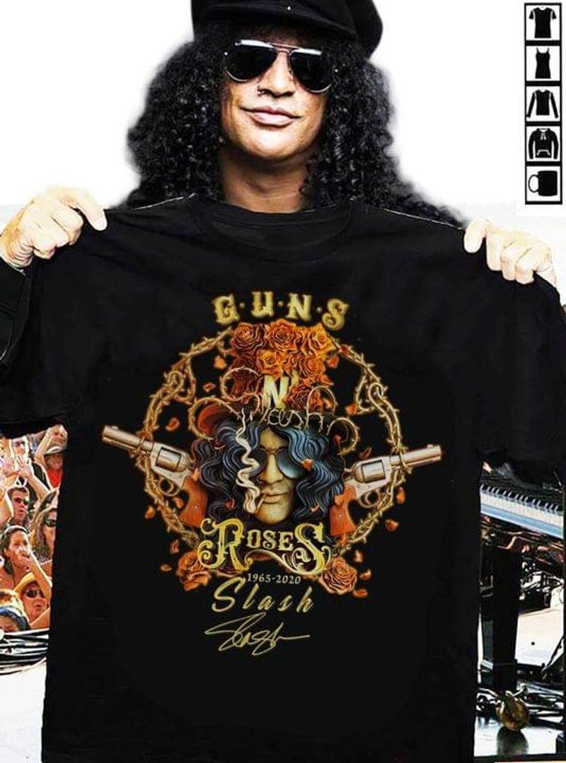 In The Loving Memory Of Guns N' Roses 1965 2020 Slash Signature Guns N' Roses Fan Gift Black T Shirt Men And Women S-6XL Cotton