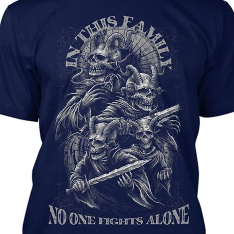 In This Family No One Fights Alone Dragon Family T Shirt Navy A4