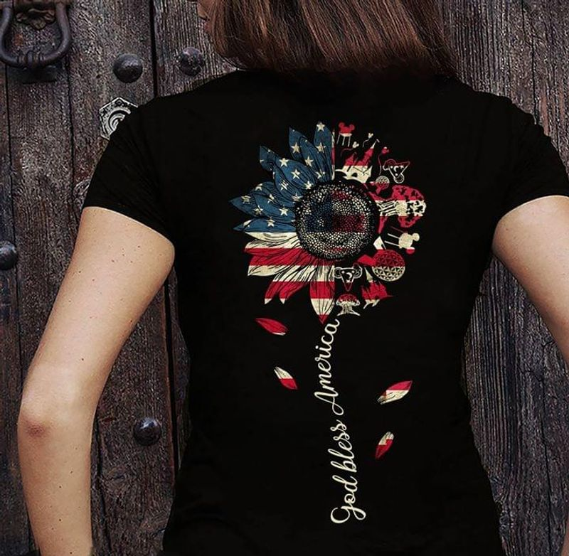 Independence Day God Bless Americca Sunflower Us Flag 4Th Of July Black T Shirt Men/ Woman S-6XL Cotton