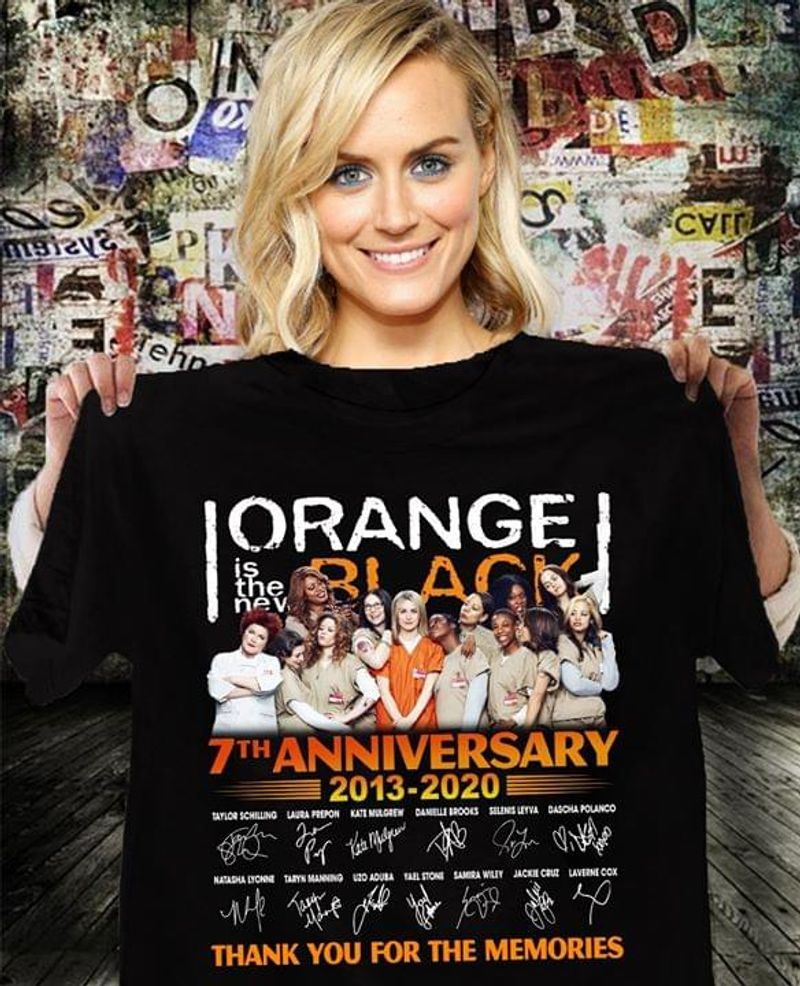 Iorange Is The New Black Fans 7th Anniversary Thank You For The Memories Signature Black T Shirt Men And Women S-6xl Cotton
