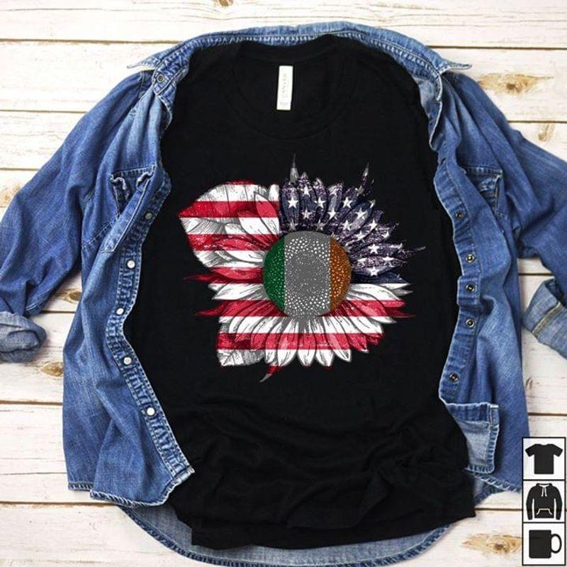 Irish Flag Sunflower Pistil American Flag Petal Black T Shirt Men And Women S-6XL Cotton