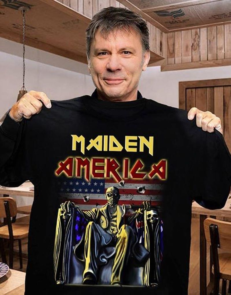 Iron Maiden American Flag Maiden America Independence Day 4th Of July T Shirt S-6XL Men And Women Clothing