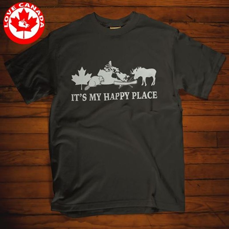 It Is My Happy Place  T-shirt Black B1