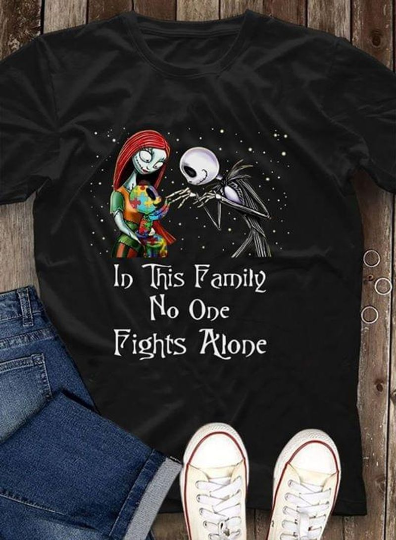 Jack Skellington And Sally In This Family No One Fights Alone Autism Awareness T-shirt Black