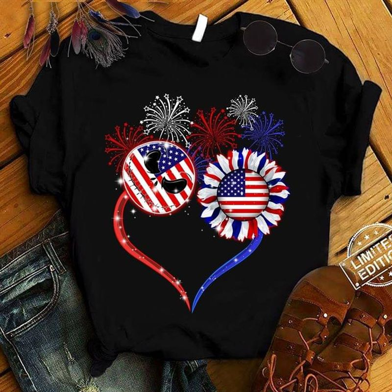 Jack Skellington And Sunflower In American Flag Texture Independence Day Black T Shirt Men/ Woman S-6XL Cotton