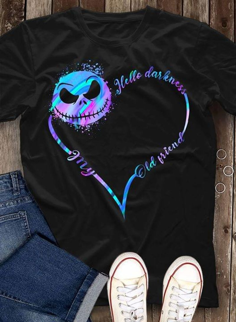 Jack Skellington Hello Darkness My Old Friend Nightmare Before Christmas Black T Shirt Men And Women S-6XL Cotton