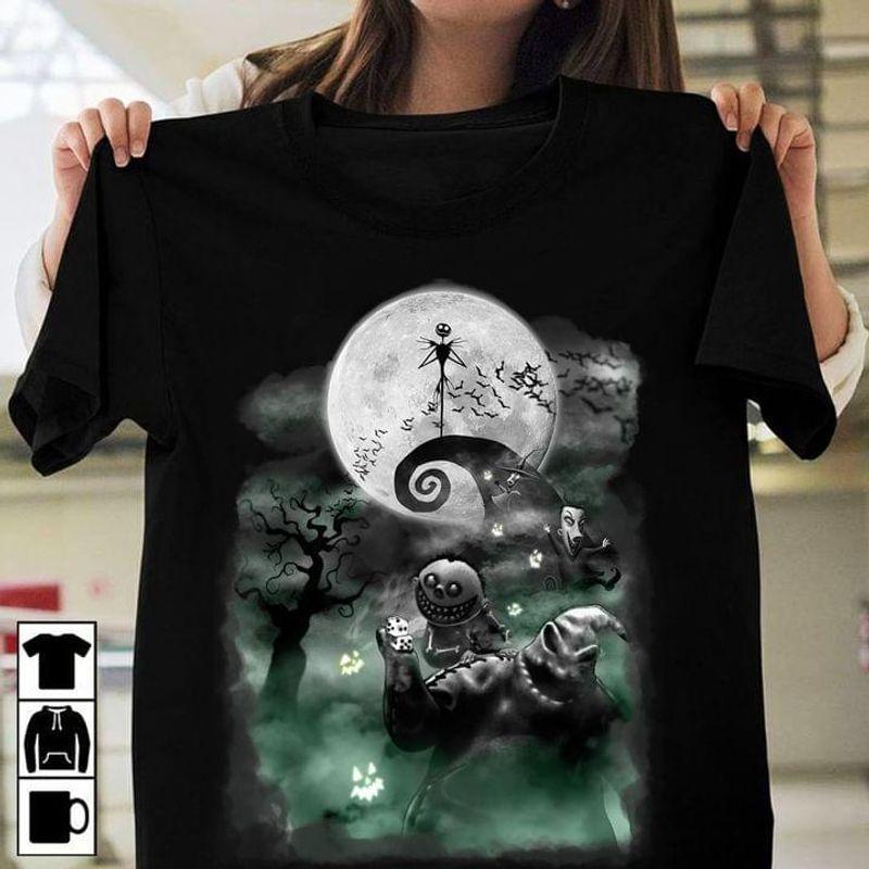 Jack Skellington & Oogie Boogie Nightmare Before Christmas Halloween Gift Idea Black T Shirt Men And Women S-6XL Cotton