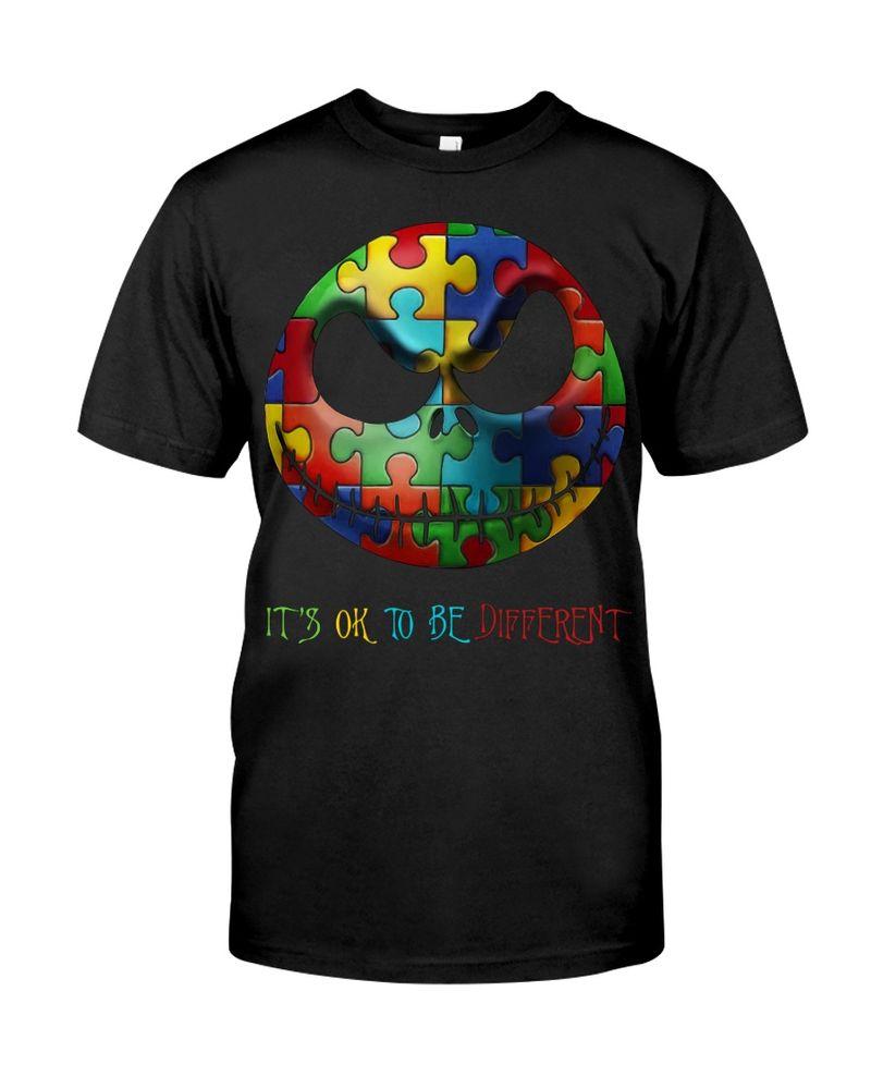 Jack Skellington Smile Autism Awareness It's Ok To Be Different Black T Shirt Men And Women S-6XL Cotton