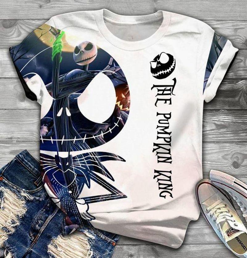 Jack Skellington The Pumpkin King Nightmare Before Christmas T-shirt Halloween Gift T Shirt Print All Over Unisex  Full Size S-5XL