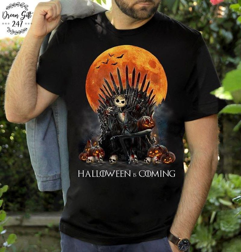 Jack Skellngton Iron Throne Halloween Is Coming Horror Movies Fan Gift Black T Shirt Men And Women S-6XL Cotton