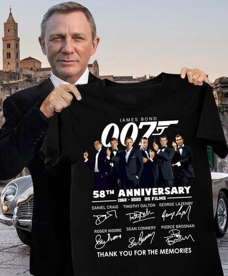 James Bond 007 58th Anniversary Thank You For The Memories Signature Black T Shirt Men And Women S-6XL Cotton