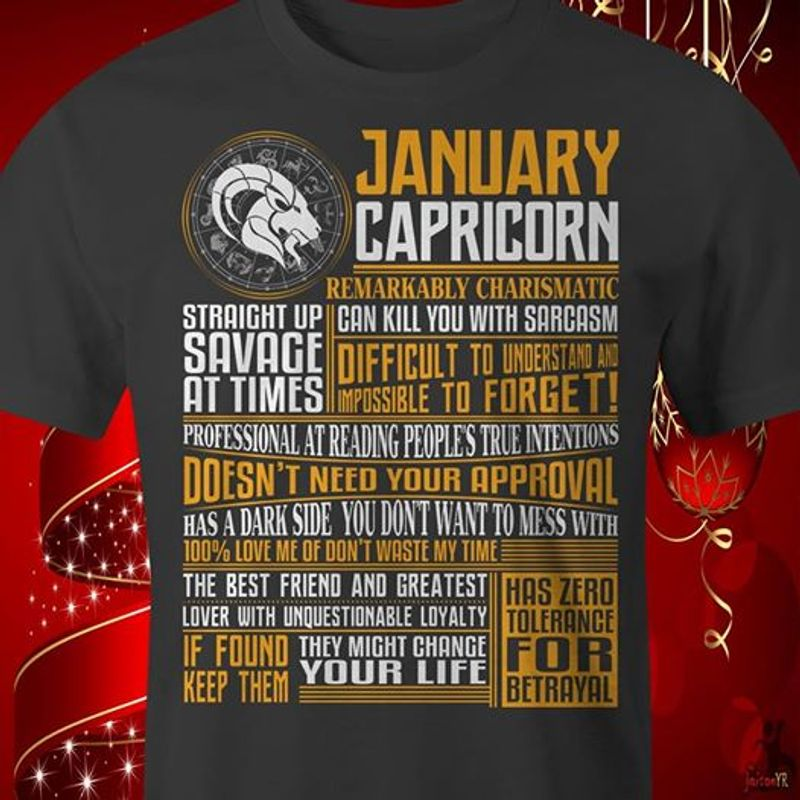 January Capricorn Remarkably Charismatic T-shirt Black A5