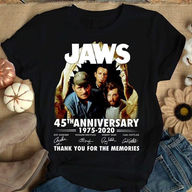 Jaws 45th Anniversary 1975-2020 Thank You For The Memories Signature Black T Shirt Men And Women S-6XL Cotton