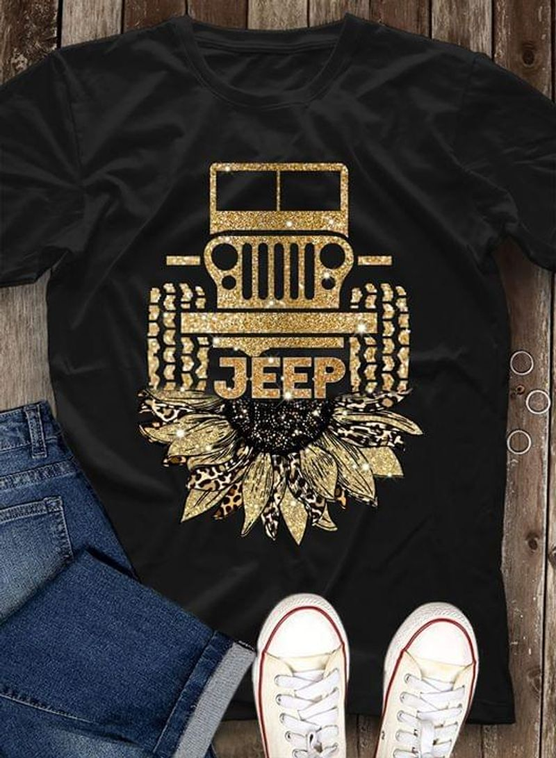 Jeep Car Sunflower Twinkling Gold Suitable For Girl Wearing On Party Night Black T Shirt Men/ Woman S-6XL Cotton