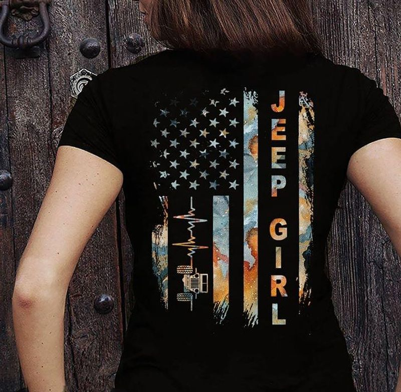Jeep Girl Heartbeat Flag America Gift For The Girls Who Love Jeep Black T Shirt Men/ Woman S-6XL Cotton