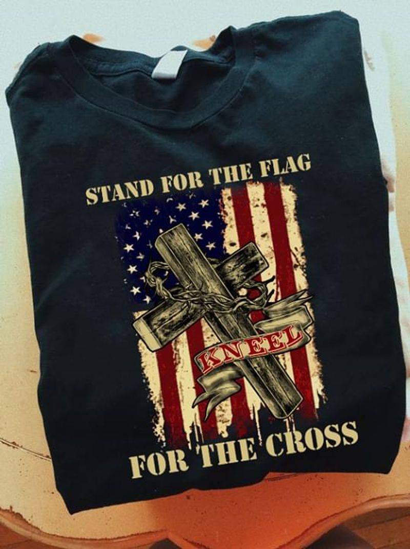 Jesus Stand For The Flag For The Cross Black T Shirt Men/ Woman S-6XL Cotton