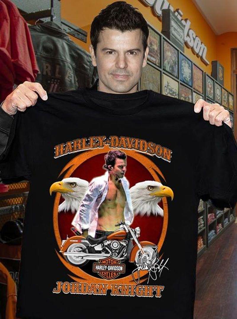 Jordan Knight Fans Harley Davidson Signature Black T Shirt Men/ Woman S-6XL Cotton
