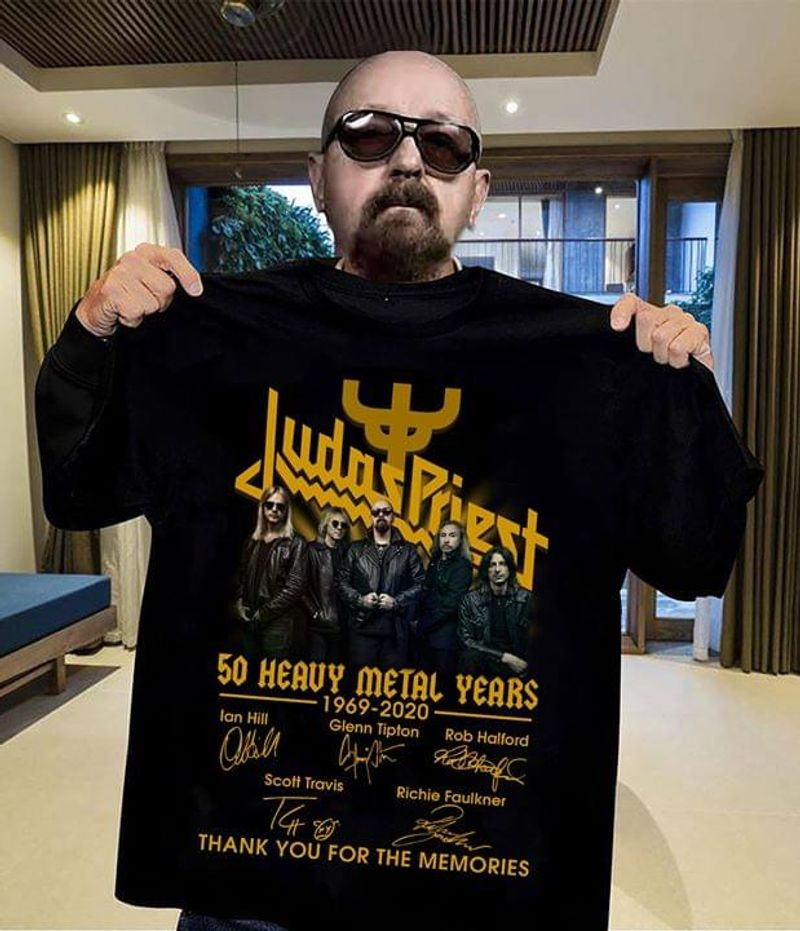 Judas Priest 50 Heavy Metal Years Thank You For The Memories Music Lovers Black T Shirt Men And Women S-6XL Cotton