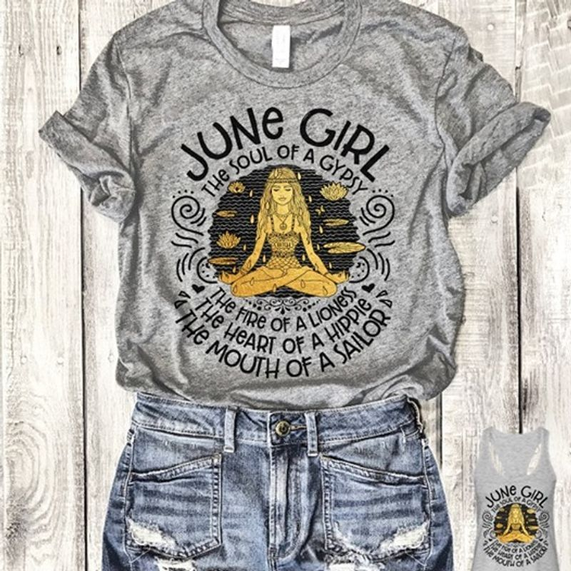 June Girl The Soul Of A Gypsy T-Shirt Grey A5