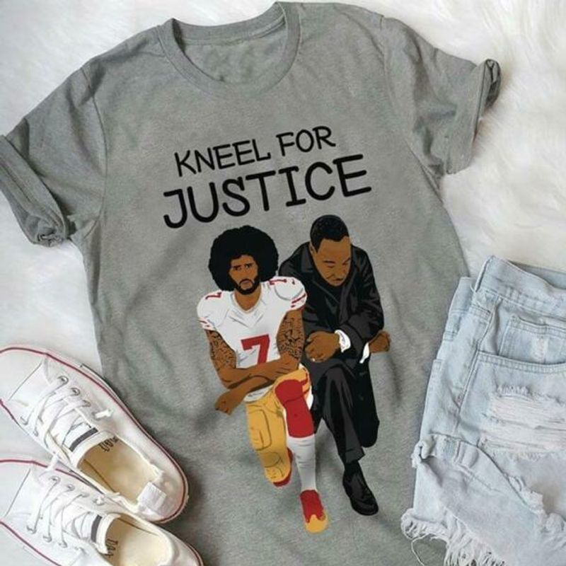 Justice For Black Lives Kaepernick And Luther King Kneeling Design For Youth Grey Shirt