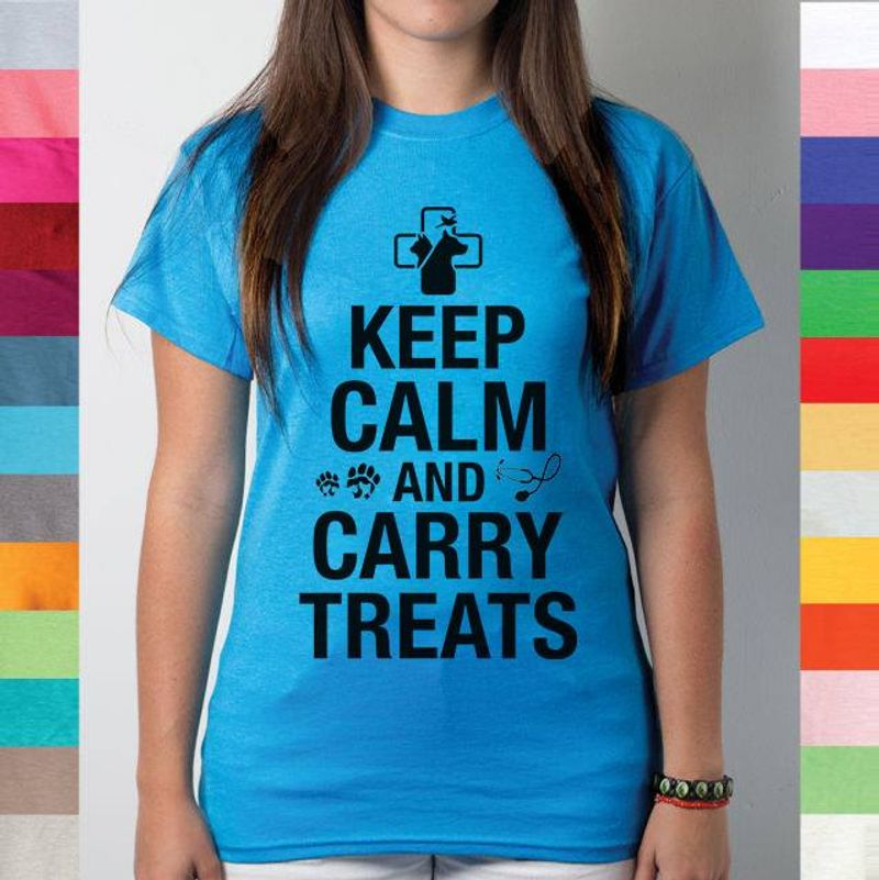 Keep Calm And Carry Treats Tshirt Blue A2