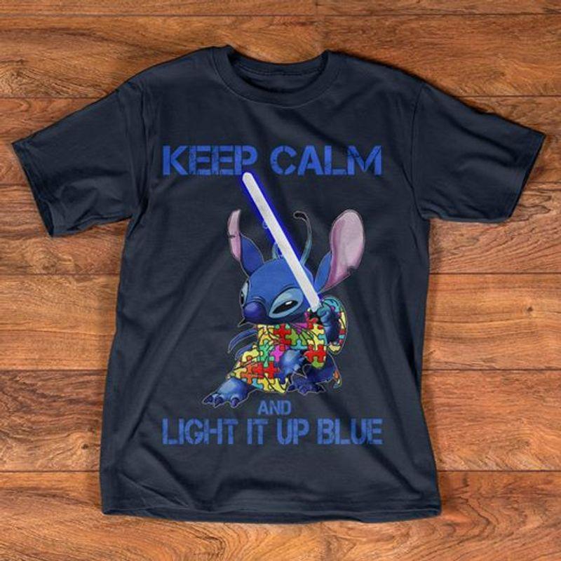 Keep Calm And Light It Up Blue Character Cartoon T-shirt Black A8