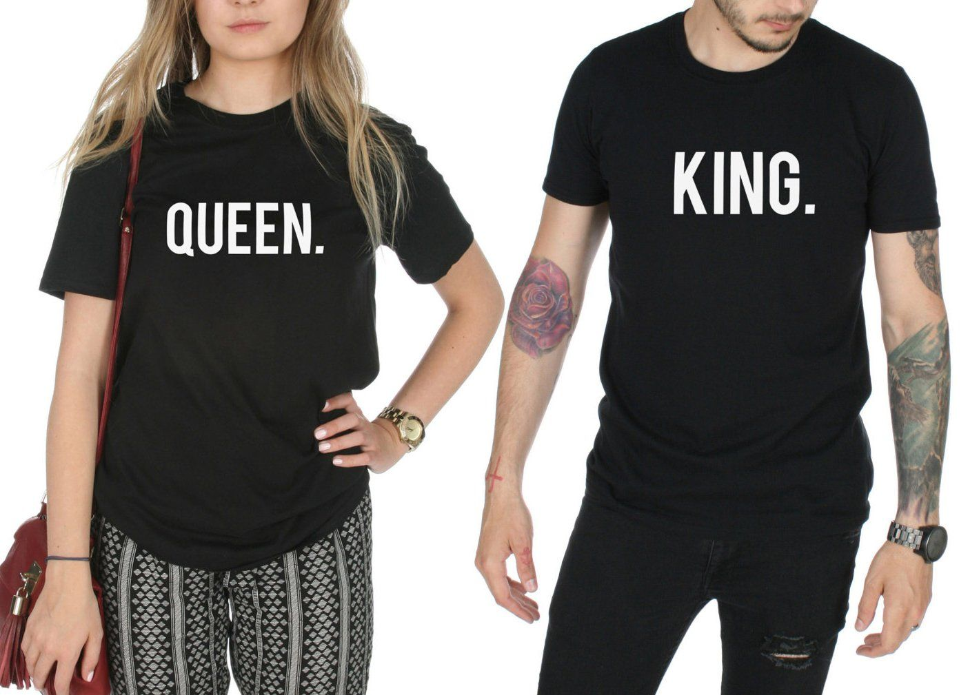 King And Queen Matching T-shirt Tops Gift Couple For Valentine's Day