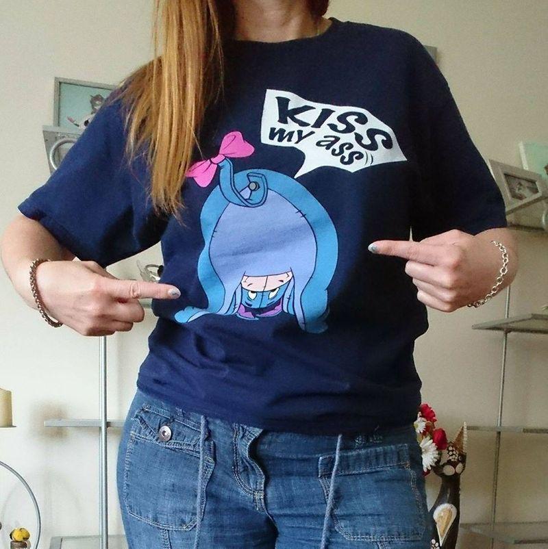 Kiss My Ass T Shirt Blue A8