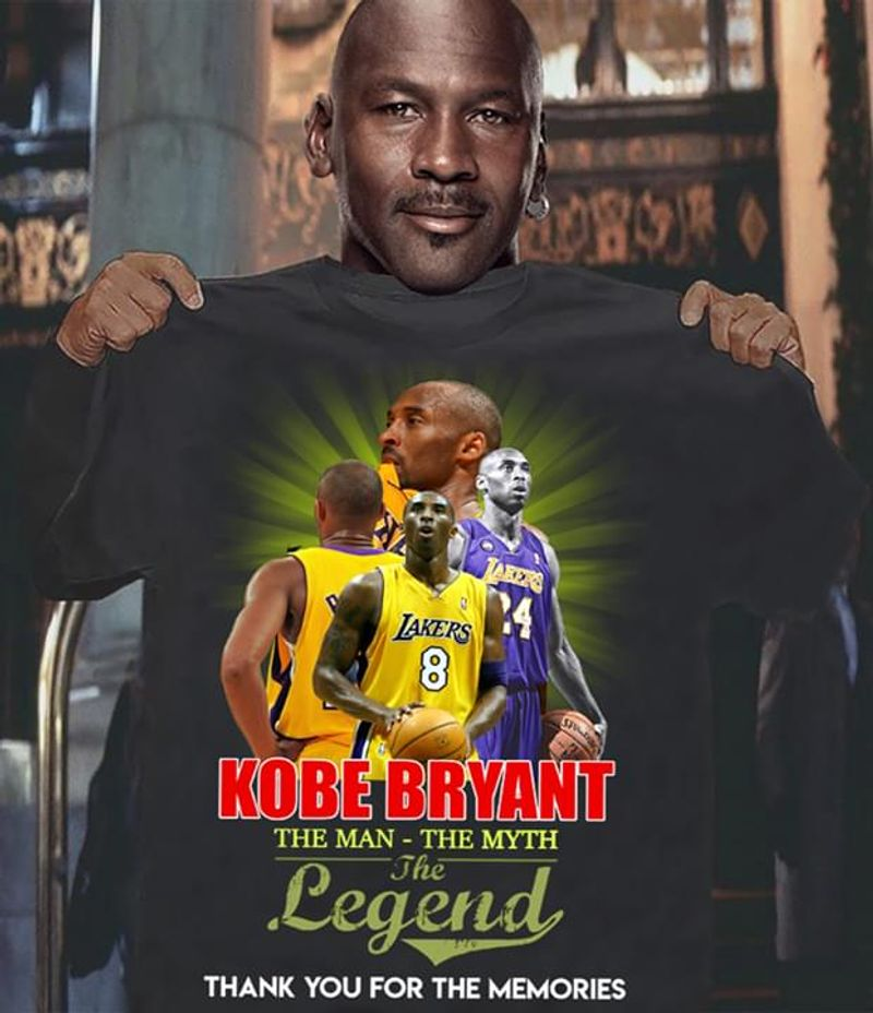 Kobe Bryant Fans The Man - The Myth The Legend Thank You For The Memories Black T Shirt Men/ Woman S-6XL Cotton