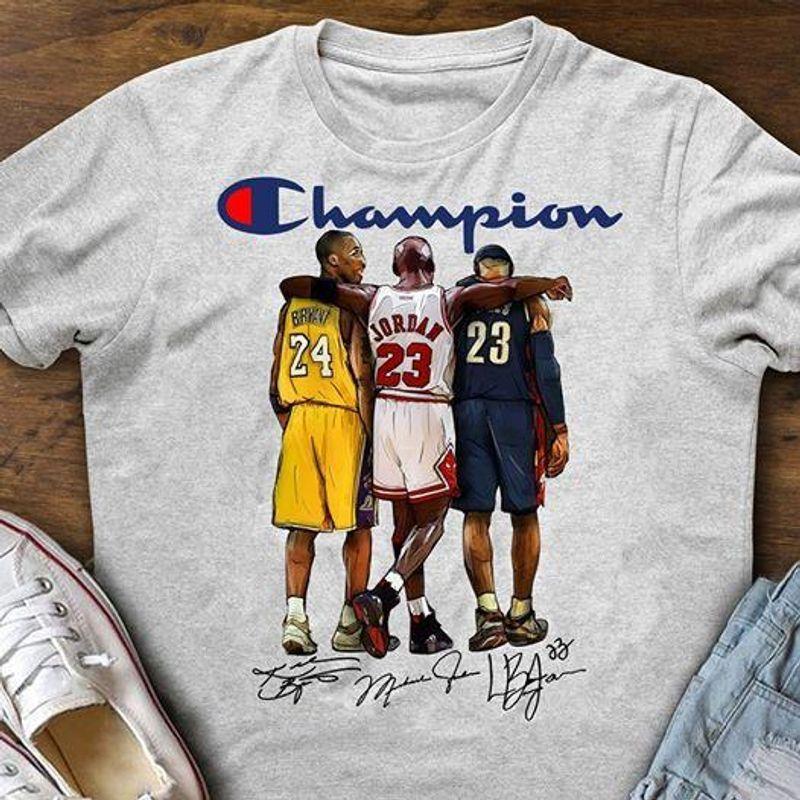 Kobe Bryant Michael Jordan LeBron James Champion 2019 Shirt White