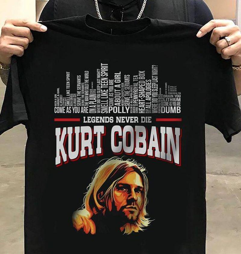 Kurt Cobain Legends Never Die Black T Shirt Men/ Woman S-6XL Cotton