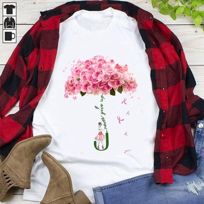 Lady Breast Cancer Never Give Up Pink Ribbon Flowers Umbrella White White T Shirt Men And Women S-6XL Cotton