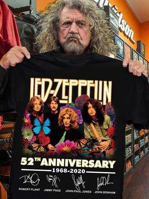 Led Zeppelin Lovers 52th Anniversary 1968-2020 Signatures T Shirt S-6XL Mens And Women Clothing