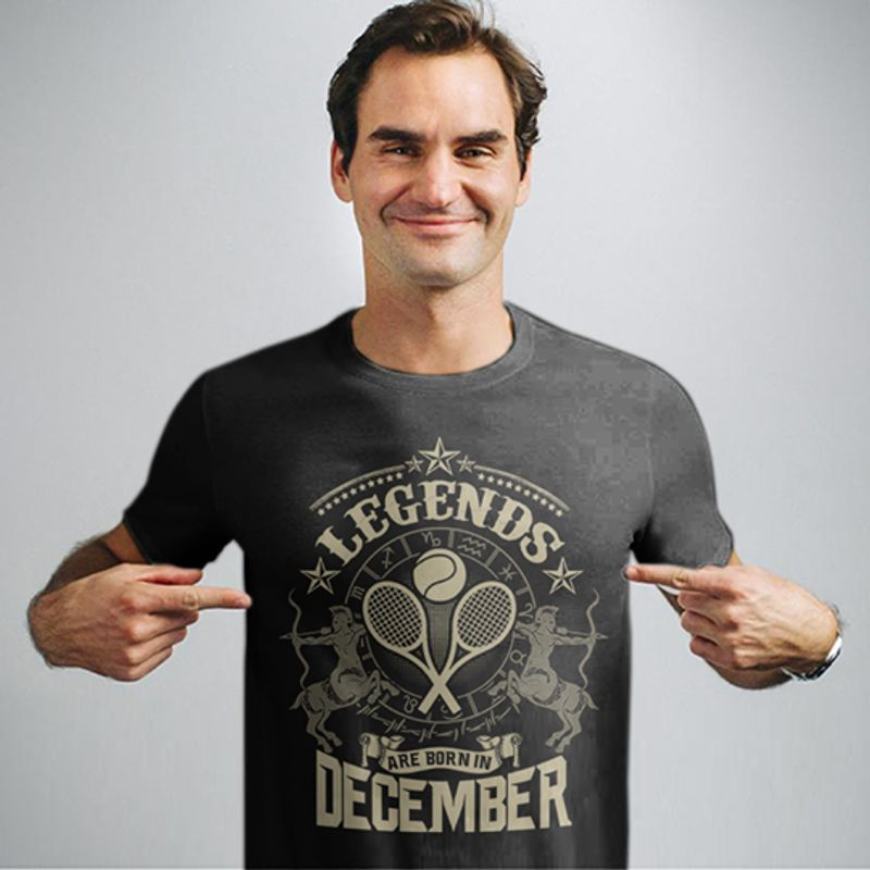 Legends Are Born In December Tennis T-Shirt Grey A4