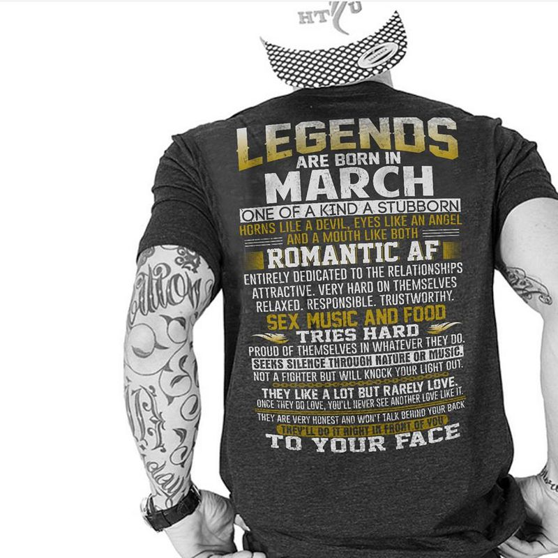 Legends Are Born In March One Of A Kind A Stubborn T Shirt Black A3