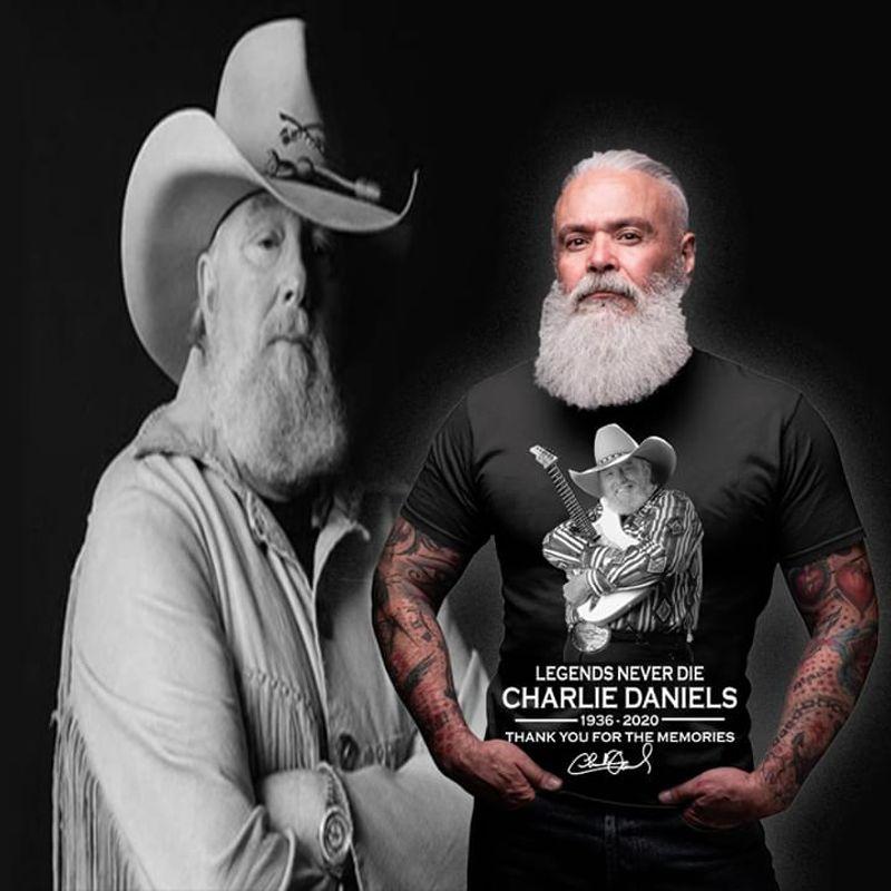 Legends Never Die Charlie Daniels Thank You For The Memories Signature Black T Shirt Men And Women S-6XL Cotton