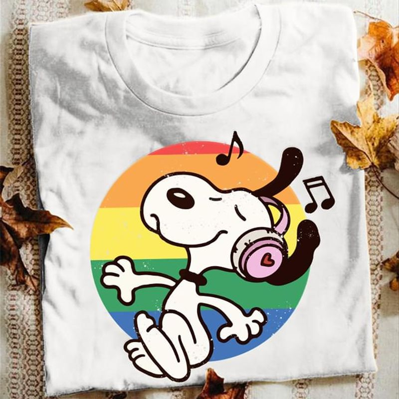 Lgbt Snoopy Dog Listening To Music Headphone Classic Graphic White T  T Shirt Men/ Woman S-6XL Cotton Men/ Woman S-6XL Cotton
