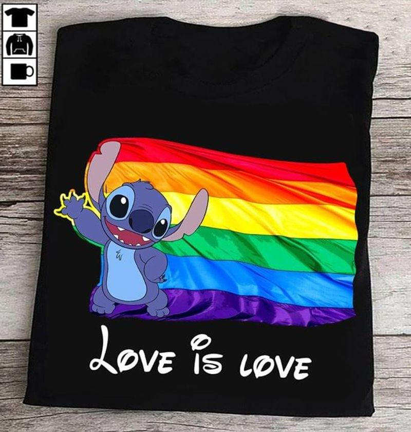 Lilo And Stitch Lgbt Pride Lesbian Gay Community Love Is Love Pround Black T Shirt Men And Women S-6XL Cotton