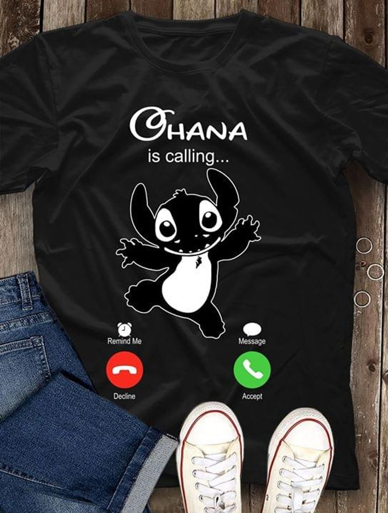 Lilo And Stitch Ohana Is Calling Phone Screen Call Funny Black T Shirt Men And Women S-6XL Cotton