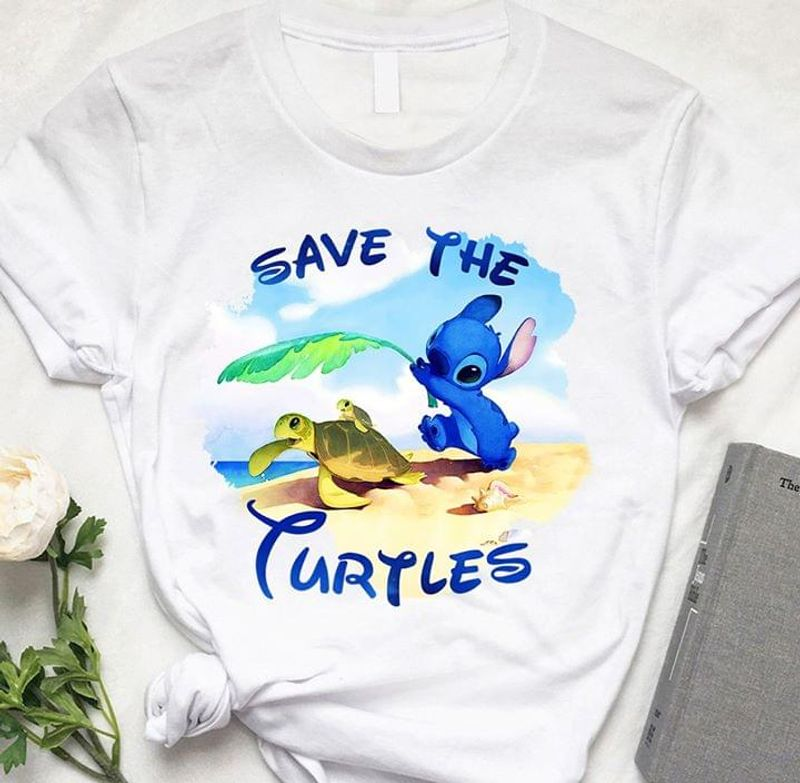 Lilo And Stitch Turtle Save The Turtles Funny Beach Happy Life White T Shirt Men And Women S-6XL Cotton
