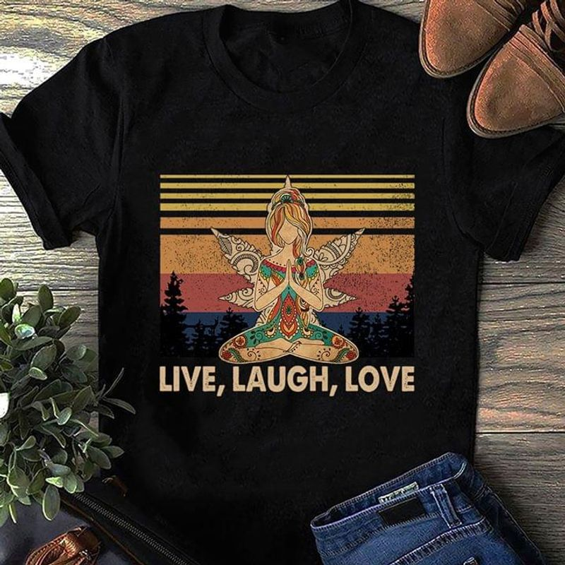 Live Laugh Love Yoga Girl Native Pattern Peaceful Mind Wings BlackT Shirt Men/ Woman S-6XL Cotton