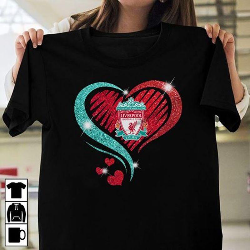 Liverpool Logo Heart Glitter T-shirt Black A4