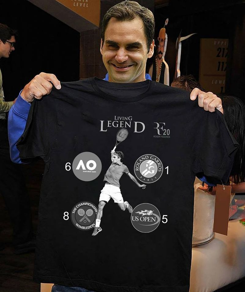 Living Legend Roger Federer T-shirt Black A4