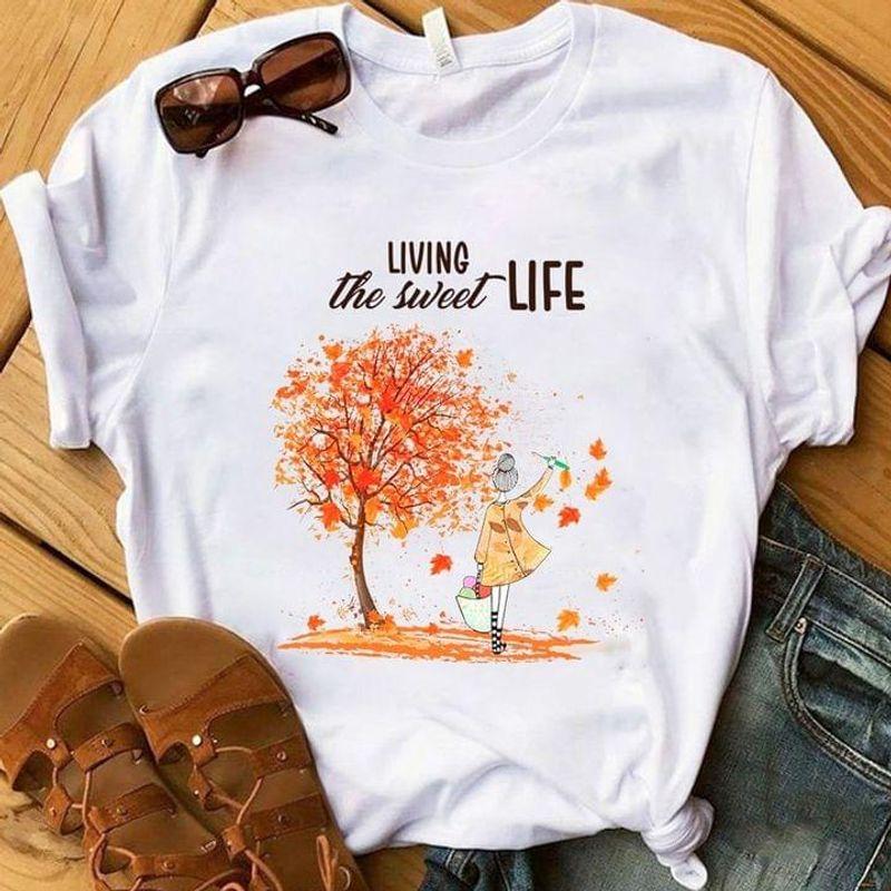 Living The Sweet Life Autumn Leaves Gift For Crochet & Knitting Lovers White T Shirt Men And Women S-6XL Cotton