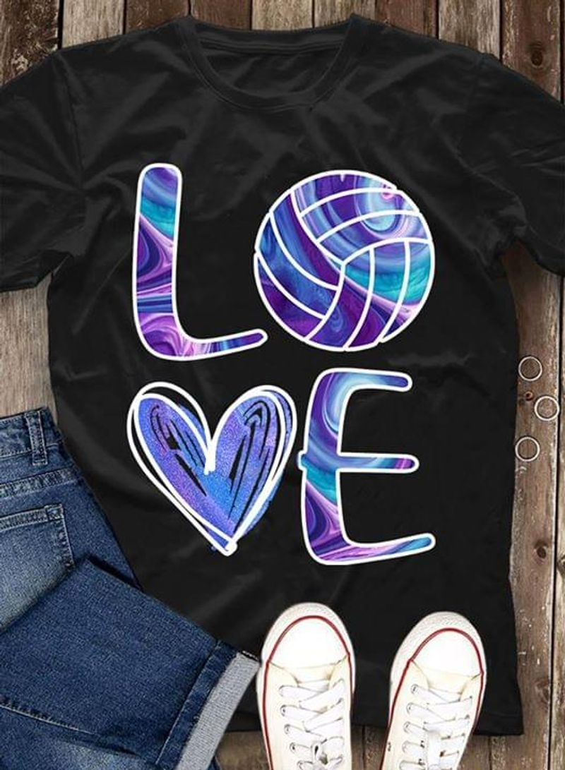 Love Basketball Heart Typography Holographic Black T Shirt Men And Women S-6XL Cotton