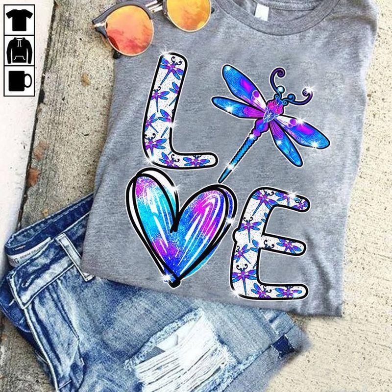Love Dragonfly Glitter T-shirt Grey