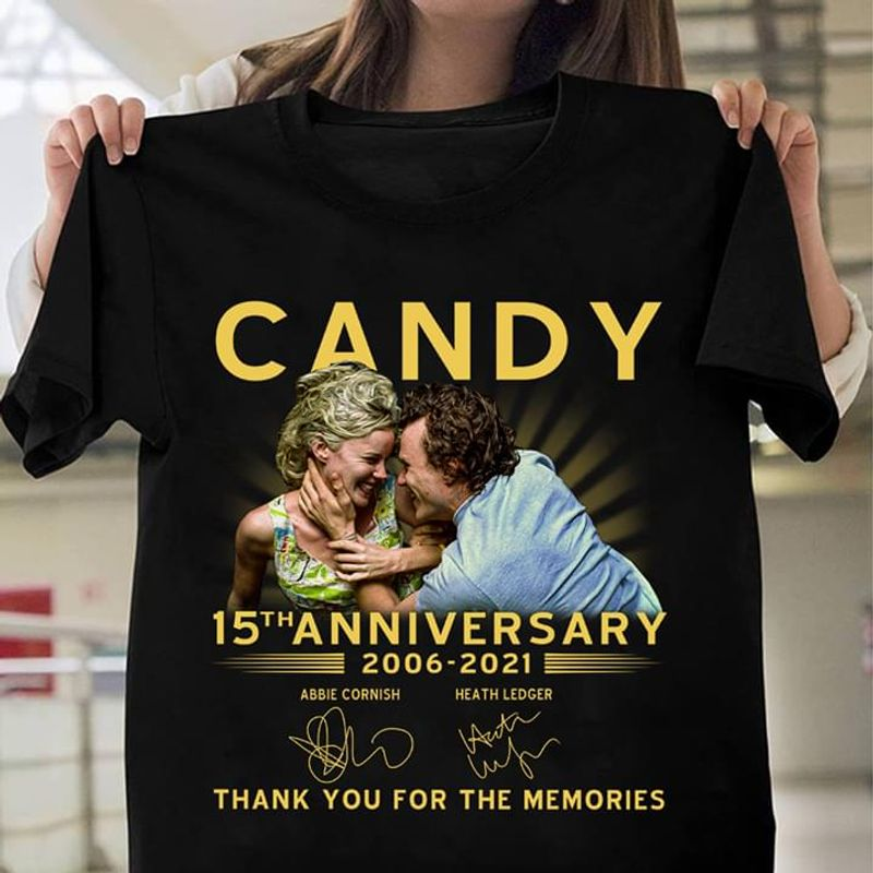 Love Film Candy 15Th Anniversary Couple Thanks You For The Memories Black T Shirt Men And Women S-6XL Cotton