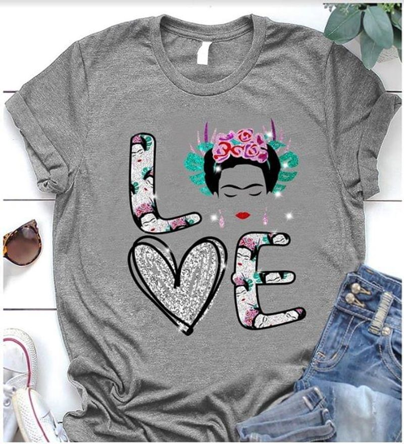 Love Heart Girl With Roses On Head Birthday Gift For Friends Grey T Shirt Men/ Woman S-6XL Cotton