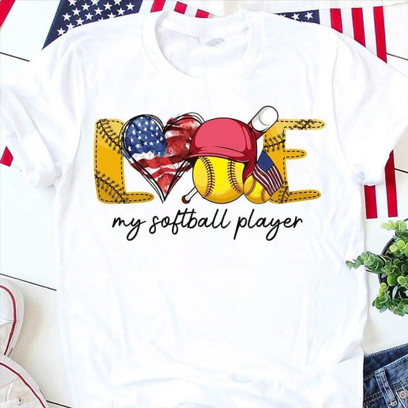 Love Softball Player Heart America Flag Independence Day 4th Of July  White T Shirt Men/ Woman S-6XL Cotton